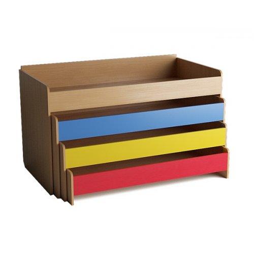 Кровать детская 4-х ярусная выкатная цветной фасад. настил фанера