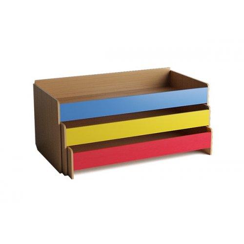 Кровать детская 3-ярусная выкатная цветной фасад. настил фанера
