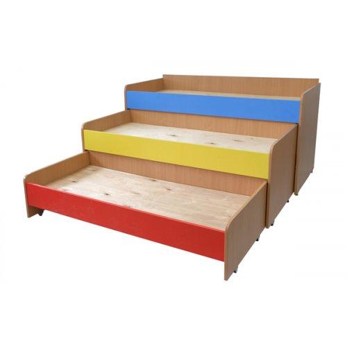 Детская трехъярусная выкатная кровать