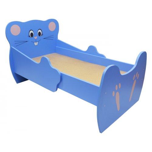 Кровать 1-ярусная ЛДСП 'Мышка , УФ печать ' Синий