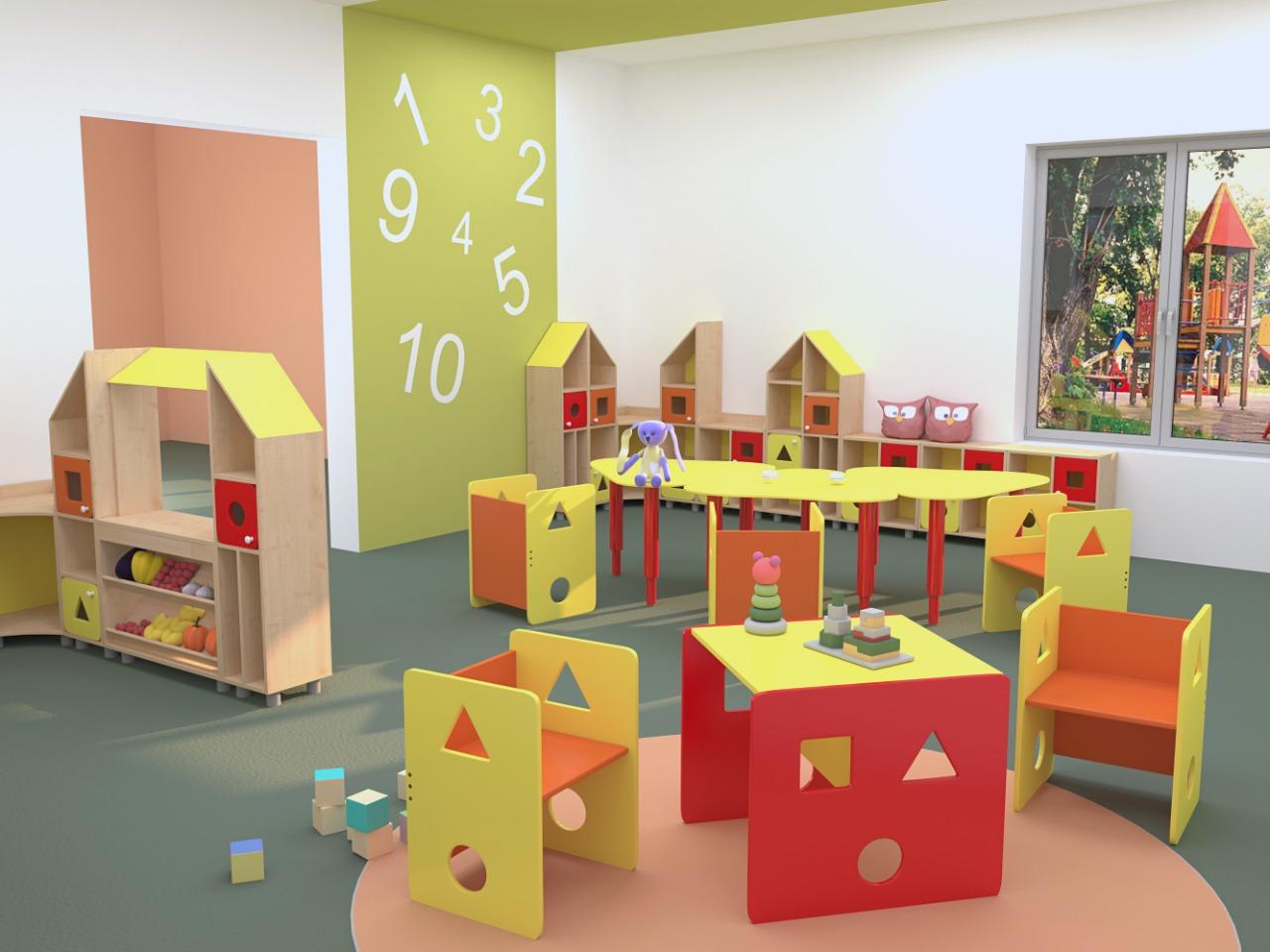 стильная мебель в детский сад серия геометрия